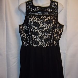 Xhilaration Sz XL Black Crochet Lace Lined Dress